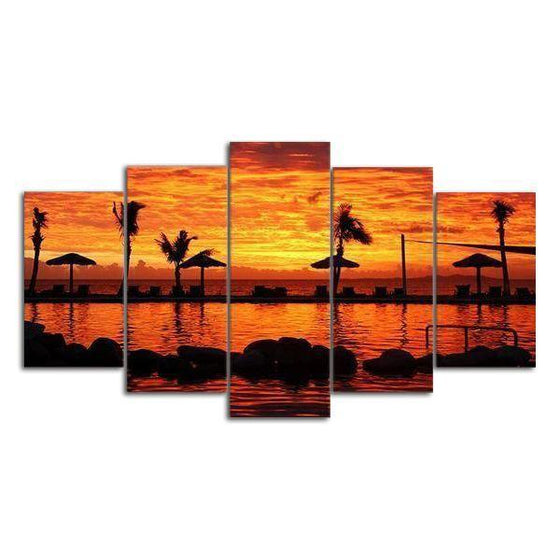 Tropical Red & Orange Sunset Canvas Wall Art