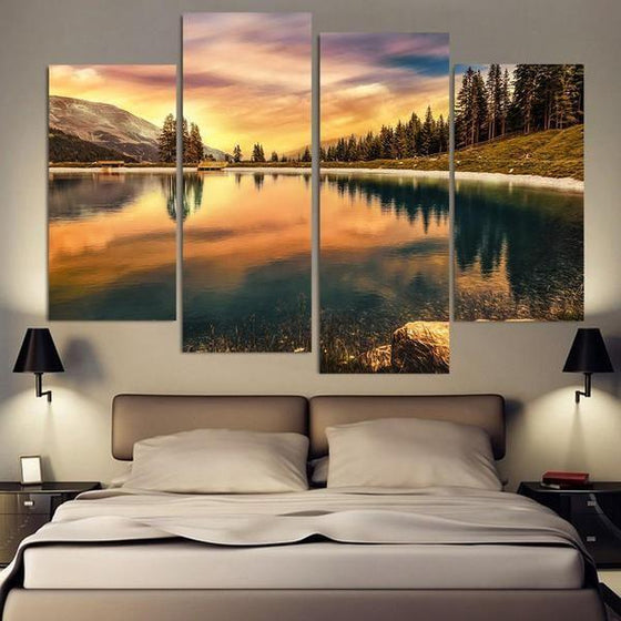 Pine Trees And Lake Sunset Canvas Wall Art