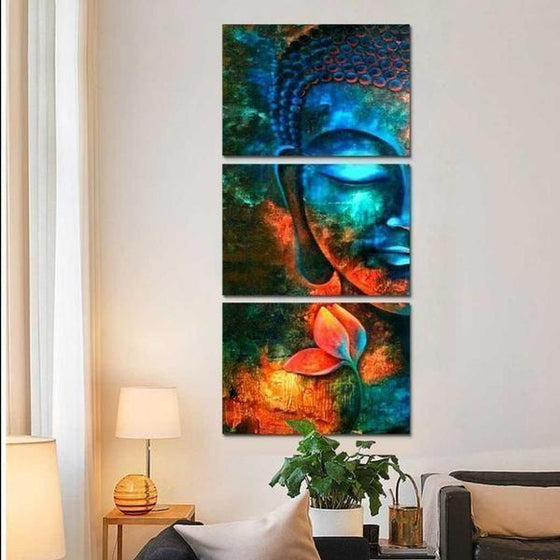 Turquoise Buddha Canvas Wall Art Living Room