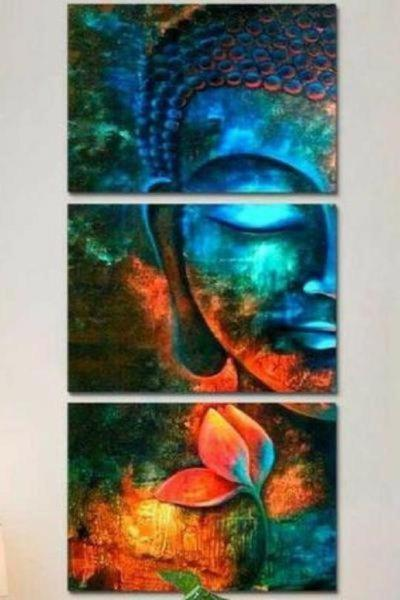 Turquoise Buddha Canvas Wall Art Print