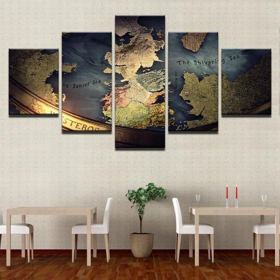 Game of Thrones Inspired Map Canvas Wall Art Dining Room