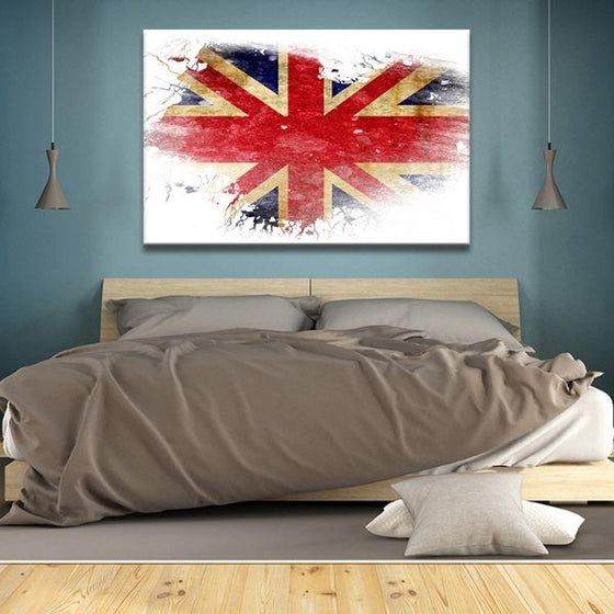UK Flag Contemporary Canvas Wall Art Bedroom
