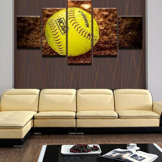 Baseball On The Ground Canvas Wall Art Living Room