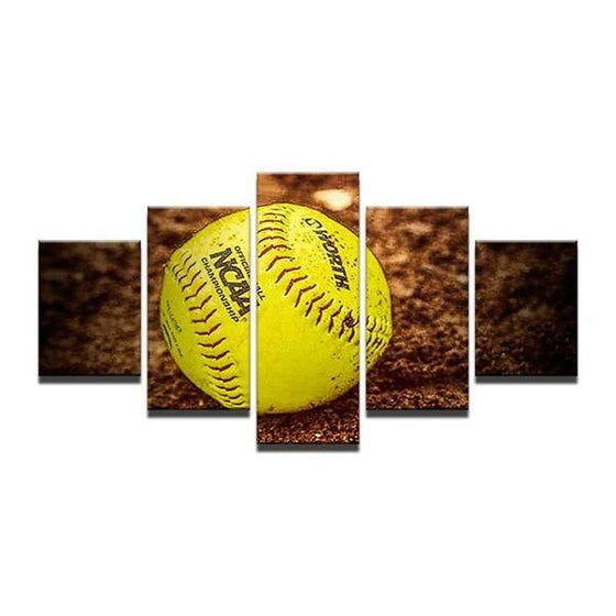 Baseball On The Ground Canvas Wall Art