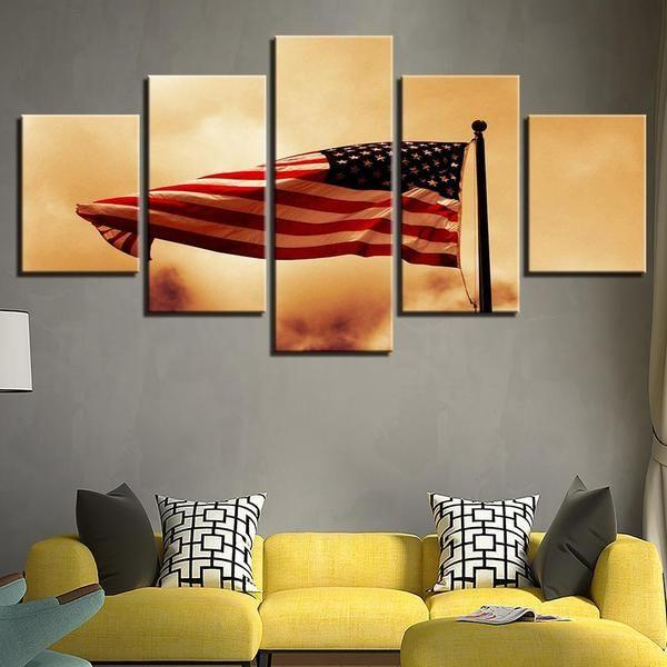 US Flag Wall Art Canvases