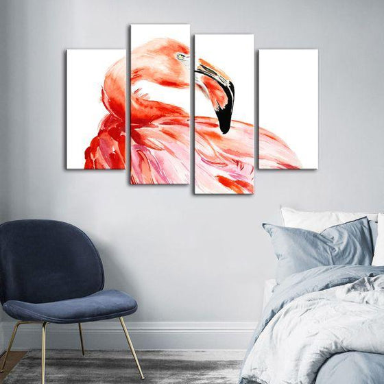 Vibrant Pink Flamingo 4 Panels Canvas Wall Art Bedroom