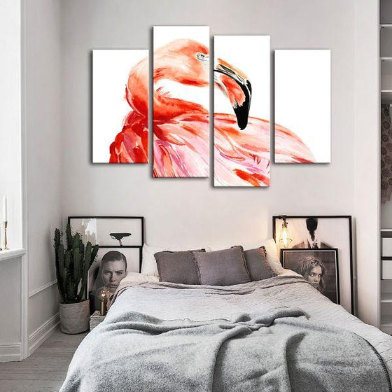 Vibrant Pink Flamingo 4 Panels Canvas Wall Art Decor