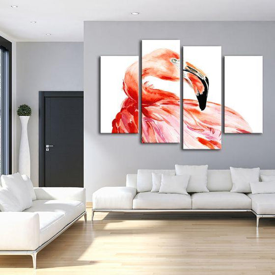 Vibrant Pink Flamingo 4 Panels Canvas Wall Art Living Room