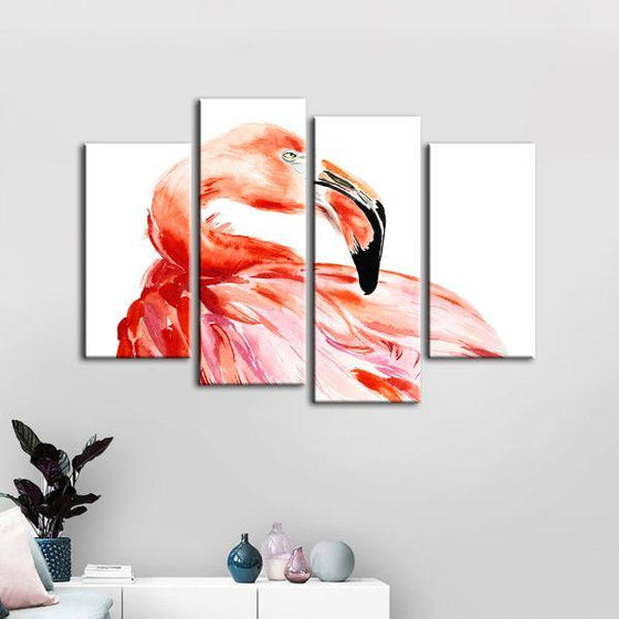 Vibrant Pink Flamingo 4 Panels Canvas Wall Art Set