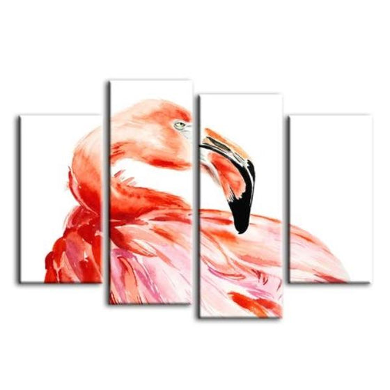 Vibrant Pink Flamingo 4 Panels Canvas Wall Art