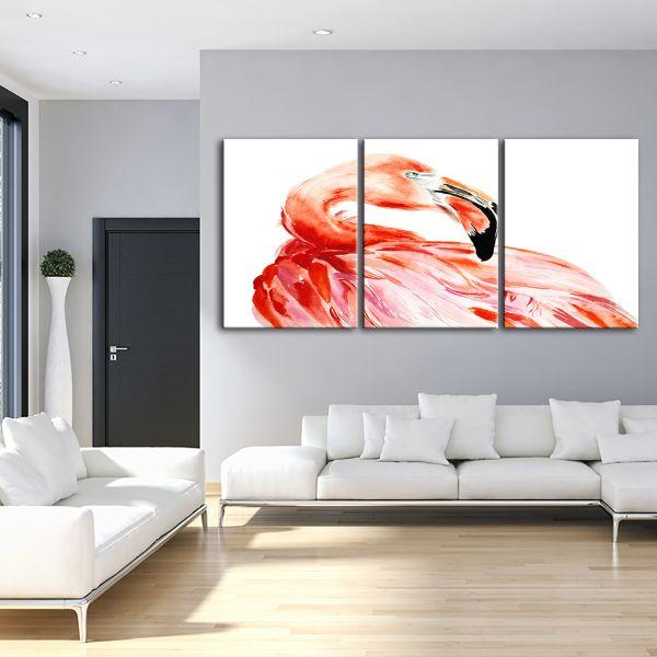 Vibrant Pink Flamingo 3 Panels Canvas Wall Art Living Room