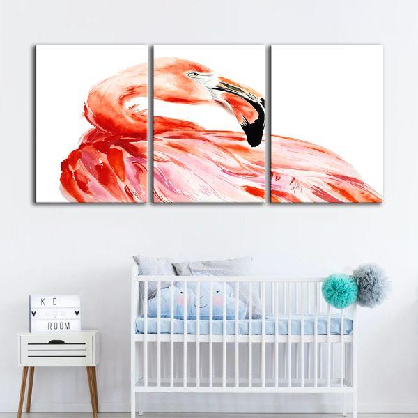 Vibrant Pink Flamingo 3 Panels Canvas Wall Art Nursery