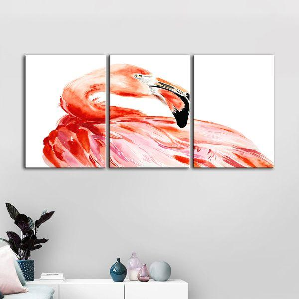 Vibrant Pink Flamingo 3 Panels Canvas Wall Art Set