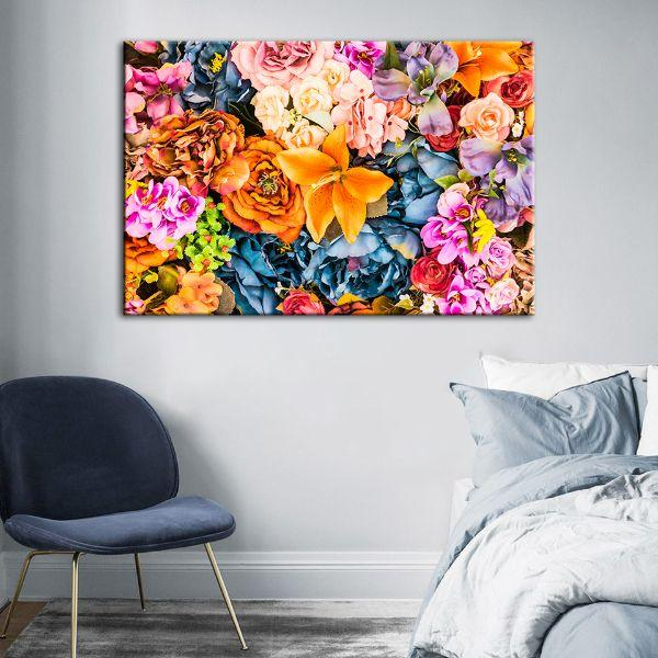 Vintage Assorted Flowers Canvas Wall Art Bedroom