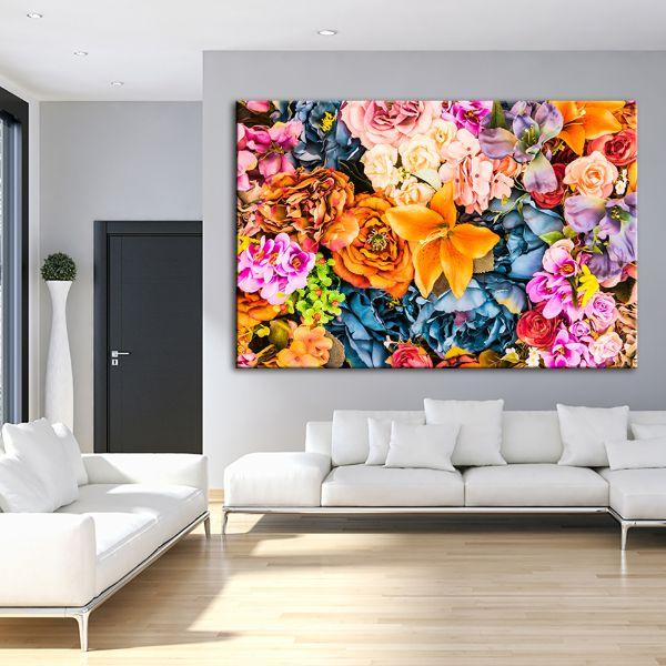 Vintage Assorted Flowers Canvas Wall Art Living Room