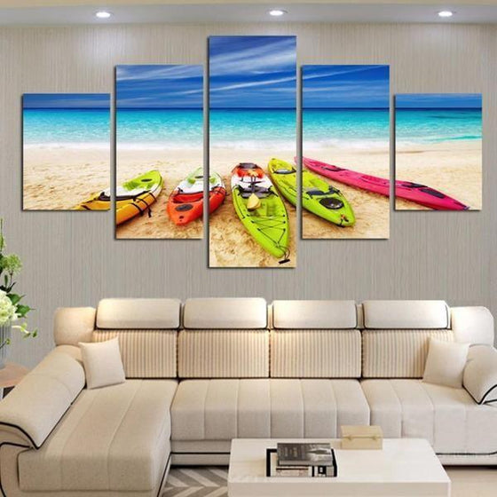 Beach With Kayaks View Canvas Wall Art Living Room
