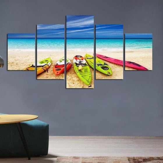 Beach With Kayaks View Canvas Wall Art Decor