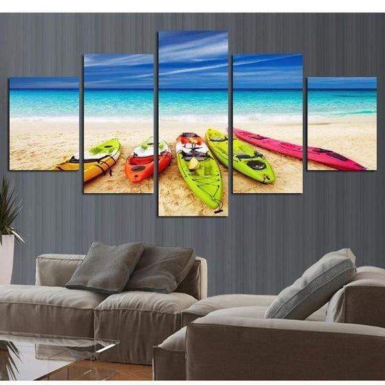 Beach With Kayaks View Canvas Wall Art Prints