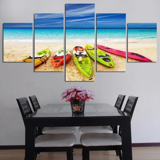 Beach With Kayaks View Canvas Wall Art Dining Room