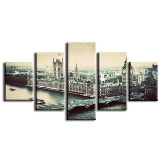 Vintage Big Ben Skyline View Canvas Wall Art