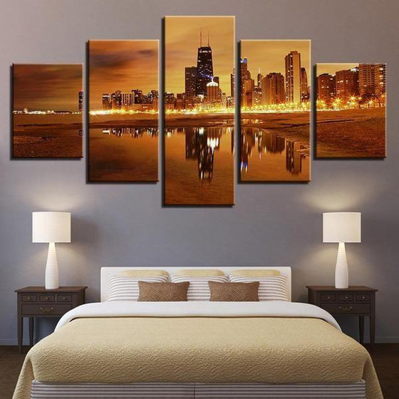 Chicago City Skyline At Sunset Canvas Wall Art Bedroom