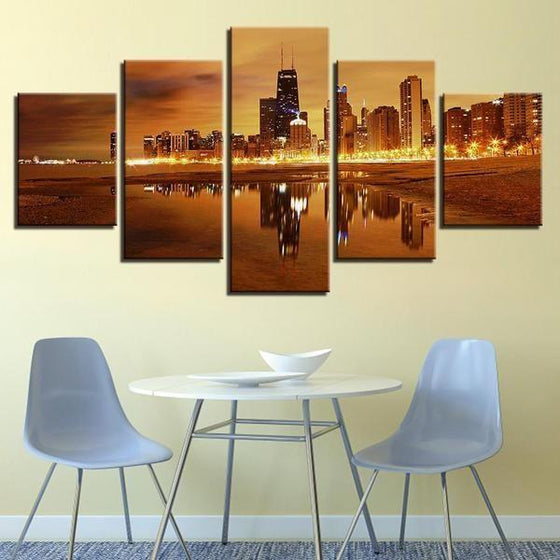 Chicago City Skyline At Sunset Canvas Wall Art