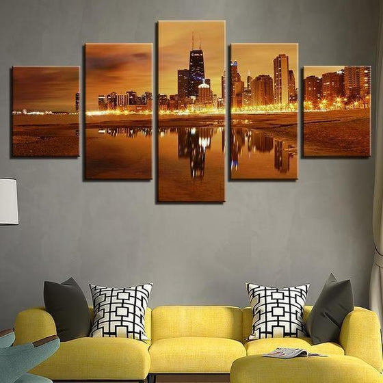 Chicago City Skyline At Sunset Canvas Wall Art Living Room
