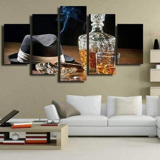 Gentleman Whiskey Bottle And Cigar Canvas Wall Art Office