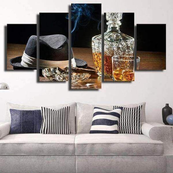 Gentleman Whiskey Bottle And Cigar Canvas Wall Art Living Room