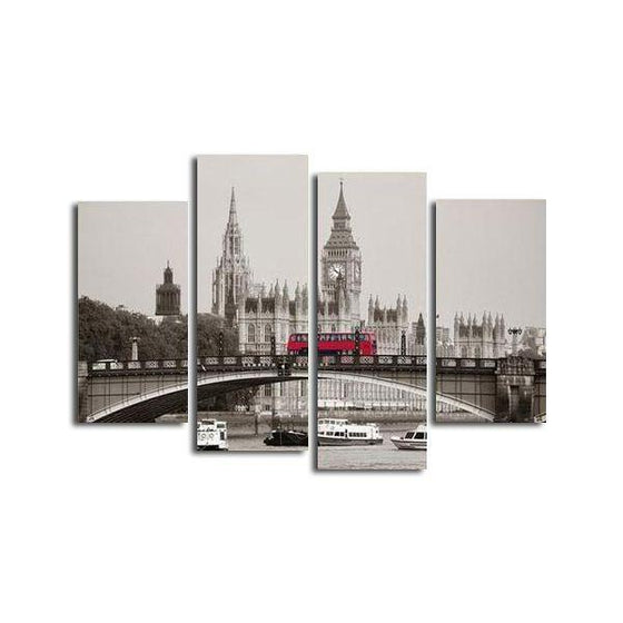 Vintage London View & Big Ben Canvas Wall Art