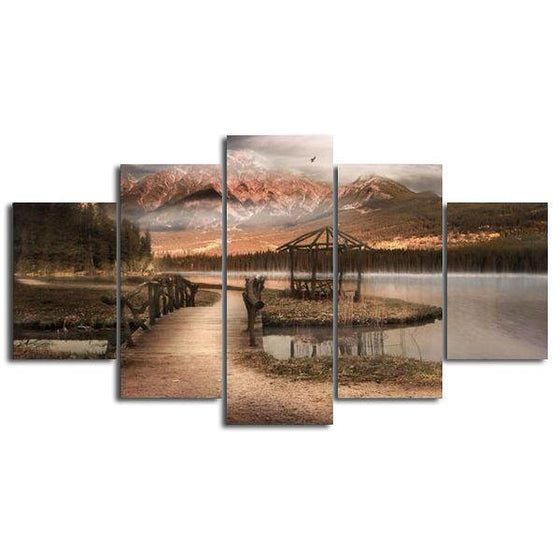 Vintage Mountain View Canvas Wall Art