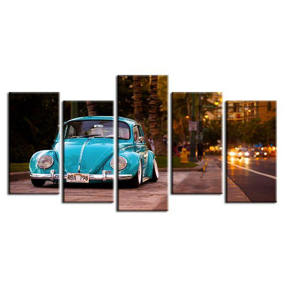 Vintage VW Beetle Canvas Wall Art