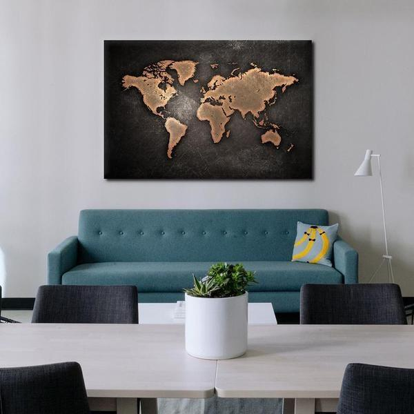 Vintage World Map Canvas Wall Art Rustic Modern Prints