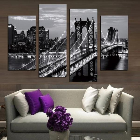 Black & White Brooklyn Bridge Canvas Wall Art Living Room Decor