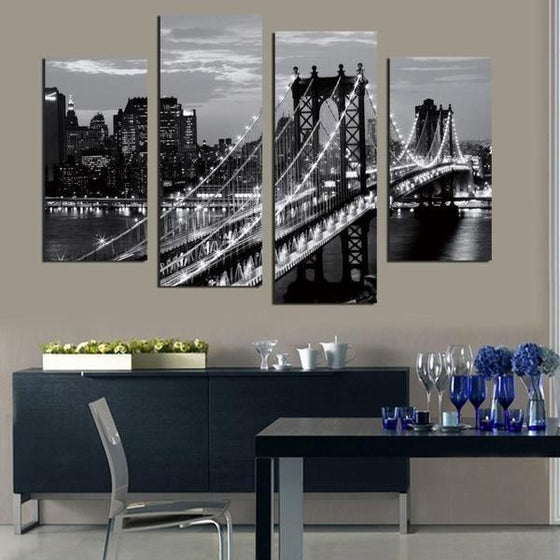 Black & White Brooklyn Bridge Canvas Wall Art Dining Room