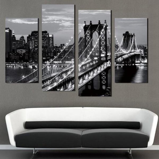 Black & White Brooklyn Bridge Canvas Wall Art Decor