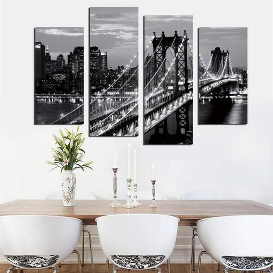 Black & White Brooklyn Bridge Canvas Wall Art Kitchen Decor