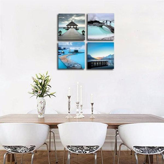 Blue Beach View Canvas Wall Art Dining Room