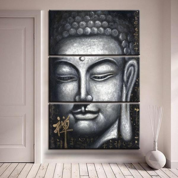 Gray Print Buddha Canvas Wall Art — canvasx.net