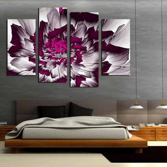 Bright Purple Peony Canvas Wall Art Bedroom Decor