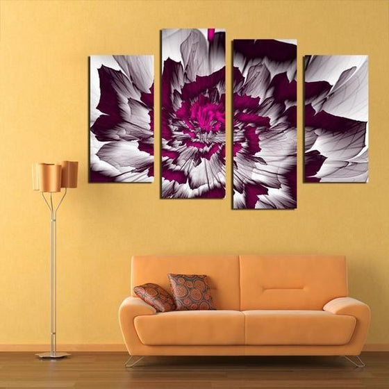 Bright Purple Peony Canvas Wall Art Living Room
