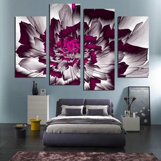 Bright Purple Peony Canvas Wall Art Bedroom