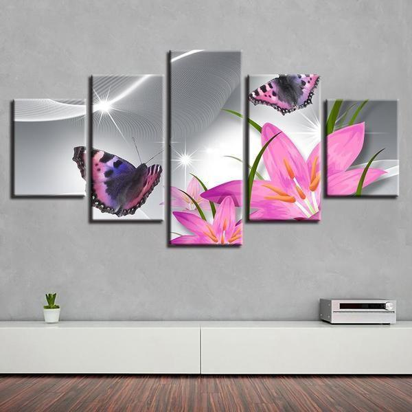 Pink Flowers With Butterflies Canvas Wall Art | Floral Canvas Print ...