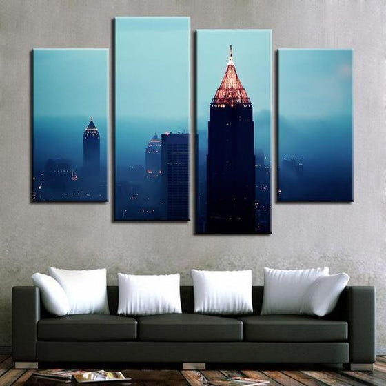 Foggy Atlanta Night View Canvas Wall Art Ideas