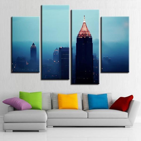 Foggy Atlanta Night View Canvas Wall Art Decor