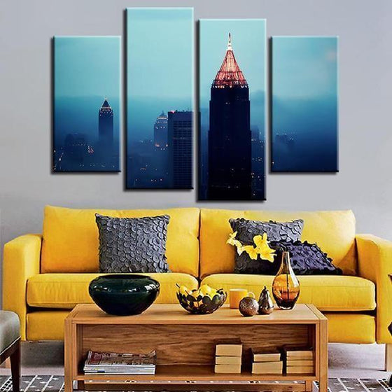 Foggy Atlanta Night View Canvas Wall Art Living Room
