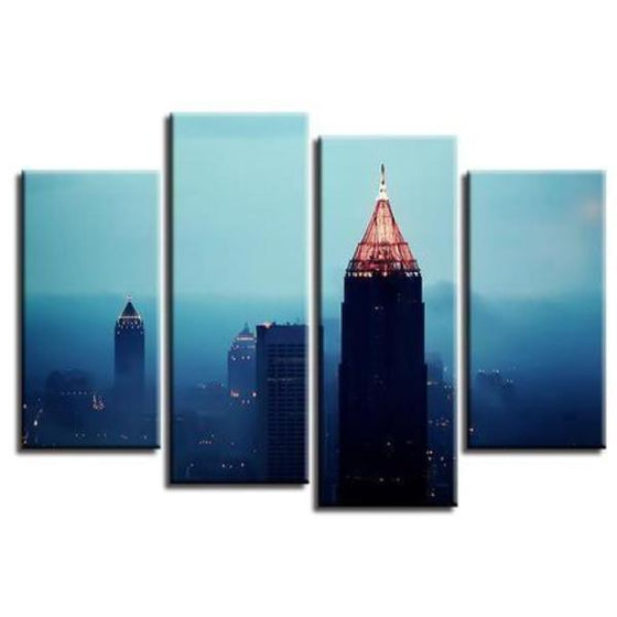 Foggy Atlanta Night View Canvas Wall Art
