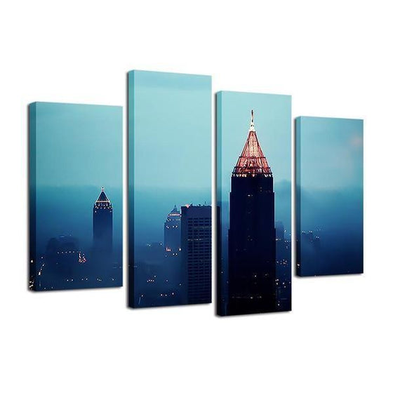 Foggy Atlanta Night View Canvas Wall Art Prints