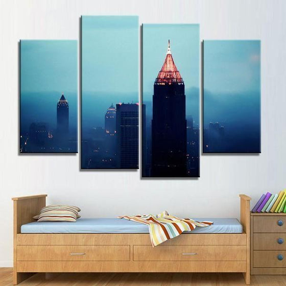 Foggy Atlanta Night View Canvas Wall Art Art Home Decor