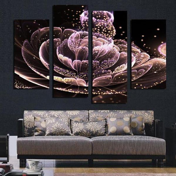 Glowing Purple Flower Canvas Wall Art Office Decor